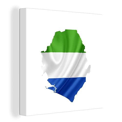 Leinwandbild - Illustration der Flagge von Sierra Leone in der Form des Landes - 120x90 cm
