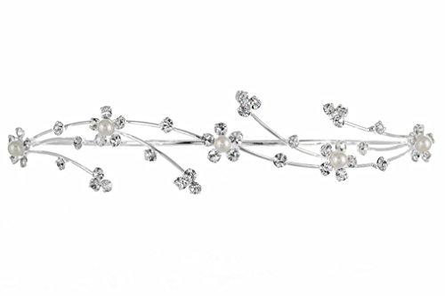 Elegante flor chica dama de honor tiara hair comb–bañado en plata perlas sintética T160