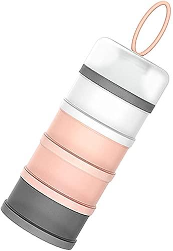 Dosatore per latte in polvere neonati e alimenti, 4 scomparti con chiusura a vite, Multicolor (Rosa)