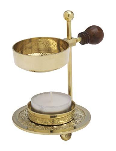 Räucherstövchen mit Holzgriff höhenverstellbar mit Teelicht aus Messing Gold (Höhe 11 cm)