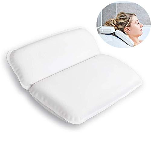 Queta Almohada de Baño Almohada Premium de baño con Ventosas Antideslizantes, Cojín Reposacabezas para Bañera/SPA/Jacuzzi/Hidromasajes, Suave/Mullida/Impermeable/Secado Rápido (39 x 31 cm)