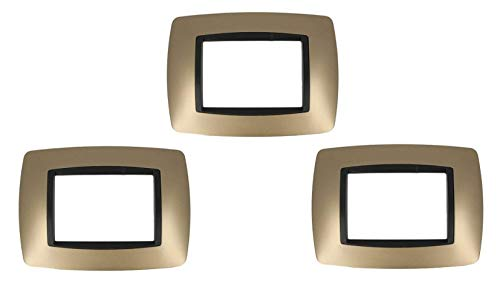 3 Pezzi SANDASDON SD88003-12 Placca 3M Oro Bombe Compatibile Bticino Living International