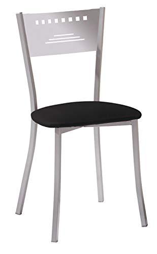 ASTIMESA Dos Sillas de Cocina Diseño Trapecio Negro (1 caja con dos sillas)