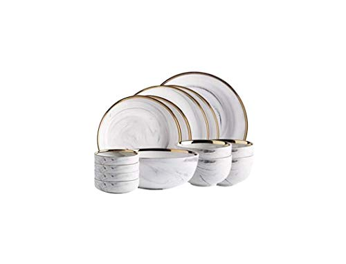 Xiao-bowl3 14 STÜCKE Keramik Teller Steak Food Dish Nordischen Stil Marmor Geschirr Set Geschirr Schüssel Ins High End Geschirr Set