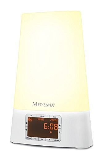 Medisana WL 460 Lichtwecker mit Radio, Sonnenaufgang, MP3-Wiedergabe, 8 verschiedene Naturklänge, 7 Wellnesslicht-Farben für Kinder und Erwachsene