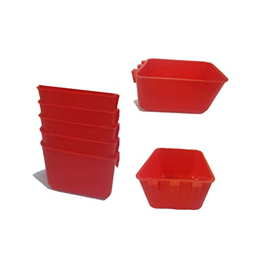 5 Pcs Large Hanging Cage Cups 23 fl oz Water Food Feeders for Rabbits Parrot Coop Cups Bird Bowls for Cages Poultry Gamefowl Chicken Food Dishes (Red Large)