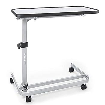 OasisSpace Overbed Table  XL  - Hospital Bed Table - Swivel Wheel Rolling Tray - Adjustable Over Bedside Home Desk - Laptop Reading - Bedridden Elderly Senior Patient Aid