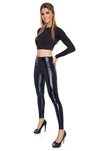FUTURO FASHION Sexy Shiny Wet Look & Mat Full Length Leggings High Waist Latex Imitation Leather Black 12 UK (L)