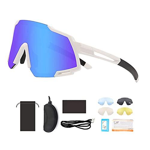 KBSN Gafas de Ciclismo para Hombre Mujer Bicicleta de Carretera, Ultraligeras, Proteccion UV400, con 4 Lentes Intercambiables para Ciclismo Pesca Golf Running Conducción Esquí Senderismo