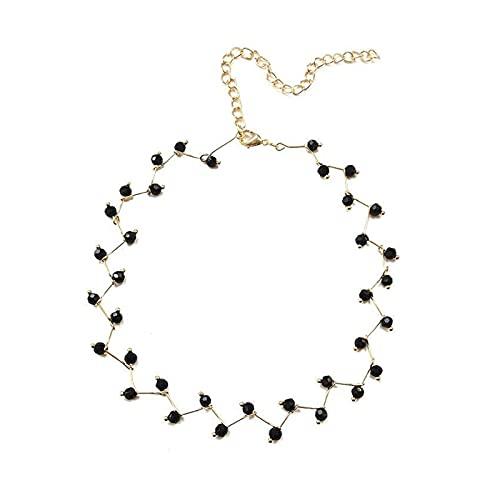 Hong Yi Fei-Shop Collares Collar de Moda Negro Declaración Collar Simple Cross Strand Beaded Chokers Collares Mujeres Joyería Collares para Mujeres (Metal Color : Gold)