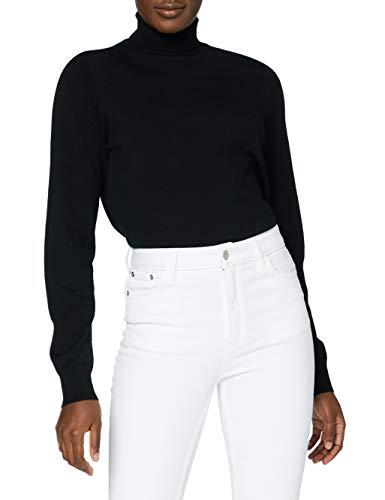 Marca Amazon - MERAKI Jersey de Merino Mujer Cuello Alto, Negro (Black), 42, Label: L