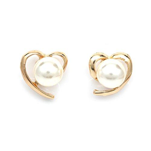 Idin - Cuore aperto dorati con perla sintetica blanca, orecchini di clip