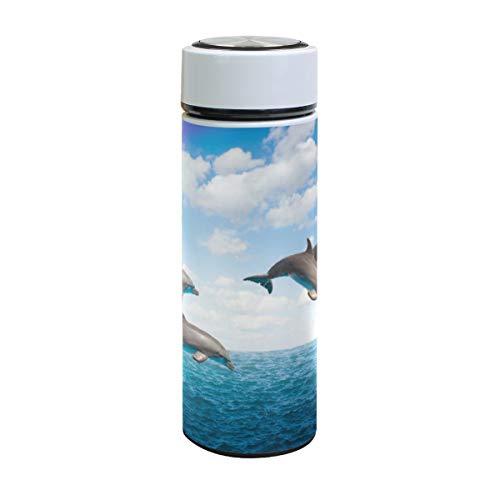 XiangHeFu thermosfles water houden koud of warm 17oz reisbeker regenboogbrug springende dolfijn lekvrij Businese Sports