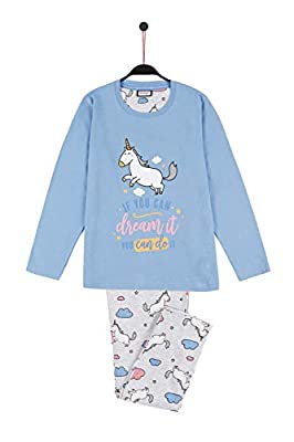 MR WONDERFUL Pijama Manga Larga Unicornio para Niña