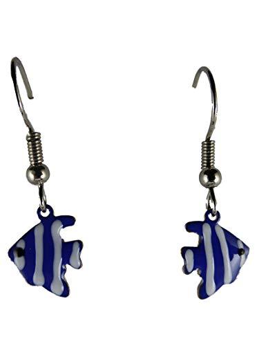 Ohrringe Hänger Ohrhänger Fisch Meer Aquarium Discus blau Haustier Tier 13.485