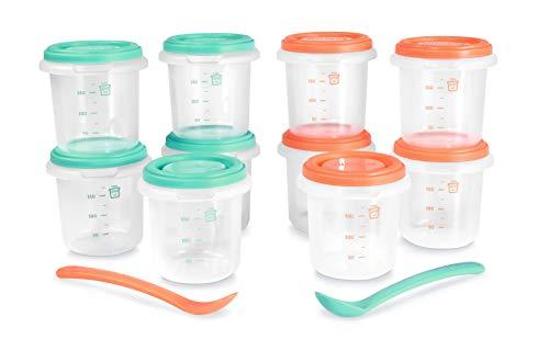Miniland - Pack de 10 herméticos para alimentos de 250ml y dos cucharas anatómicas. Recipientes para organizar las comidas de tu bebé. Para todo tipo de alimentos: sólidos, líquidos, leche materna. Co