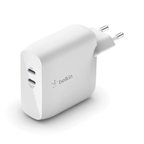 Belkin Boost Charge Doppio Caricabatteria da Parete GaN USB-PD 68 W (Caricabatteria USB-C per iPhone12, 12Pro, 12Pro Max, 12 mini e Precedenti, iPad Pro, Pixel, MacBook Pro, Galaxy e Altri), bianco