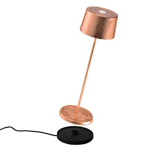 Zafferano - Olivia Pro Lámpara LED de Mesa Regulable de Aluminio, Base de Carga por Contacto, Protección IP65, Uso Interior/Exterior, H35,5cm, Enchufe UE - Hoja de Cobre