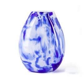 Design vaas - Fidrio - glazen sculptuur - delfts blauw - gekleurd glas - mondgeblazen - 20 cm hoog