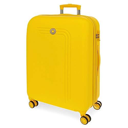Movom Riga Maleta Mediana Amarillo 49x70x27 cms Rígida ABS Cierre combinación 72L 3,9Kgs 4 Ruedas Dobles Extensible