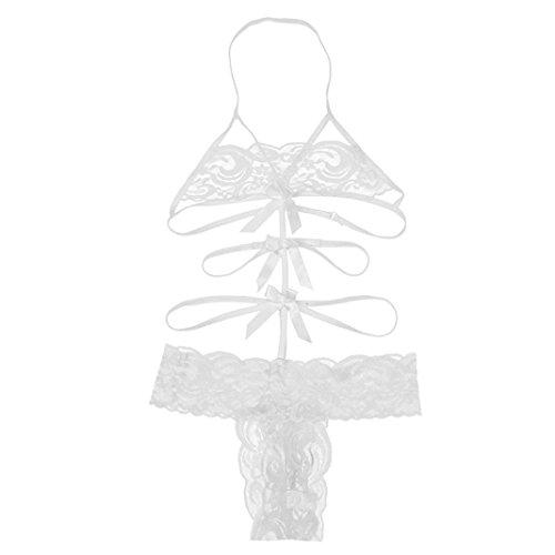 Hansee Damen Sexy Dessous Babydoll Spitze Bogen Kleid Nachtwäsche G-String Nachtwäsche (L)