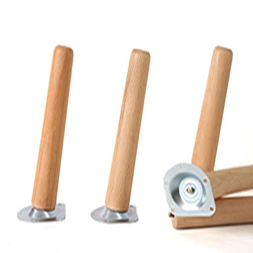 GDLKY – Juego de 4 patas de muebles de madera maciza, patas de sofá de mesa baja, piernas, para camas, armario, banco altura muebles de madera (15 cm, Tilt)