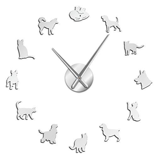 YQMJLF Reloj Pared DIY 3D Grande Lindo Perro y Gato DIY Reloj Pared Gigante decoración hogar Reloj Pared silencioso Veterinario Reloj Pared Grande Amantes los Animales Regalos Veterinarios Plata