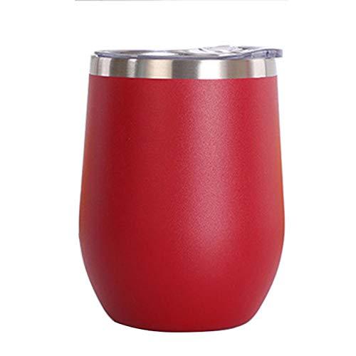 Vaso de Agua de Acero Inoxidable con Tapa, 12 oz Vacío de Doble Pared Vacío Vacipador Copa para café, Vino, cócteles, Helado,Rojo
