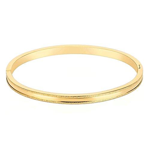 Epinki Edelstahl Damen Armband Tube Klappbar mit Doppel Streifen Gold Freundschaftsarmbänder