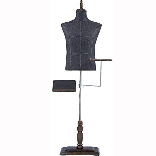 YGCLOTHES Femme Tailleurs Mannequin Noir, Taille 135-185Cm Robe Makers Affichage Mannequin, Hauteur Réglable Affichage Buste Stand avec Base en Bois Modèle Stand Holder (NO Robe),A