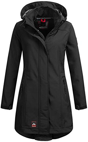 A. Salvarini Damen Softshell Funktions Outdoor Regen Jacke Sport lang AS-188 [AS-188-Schwarz-Gr.S]