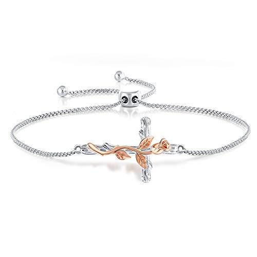 SNZM Rose Cross Bracelet, Sterling Silver Flower Bracelet for Women Adjustable Friendship Bracelet Gifts for Chrismas