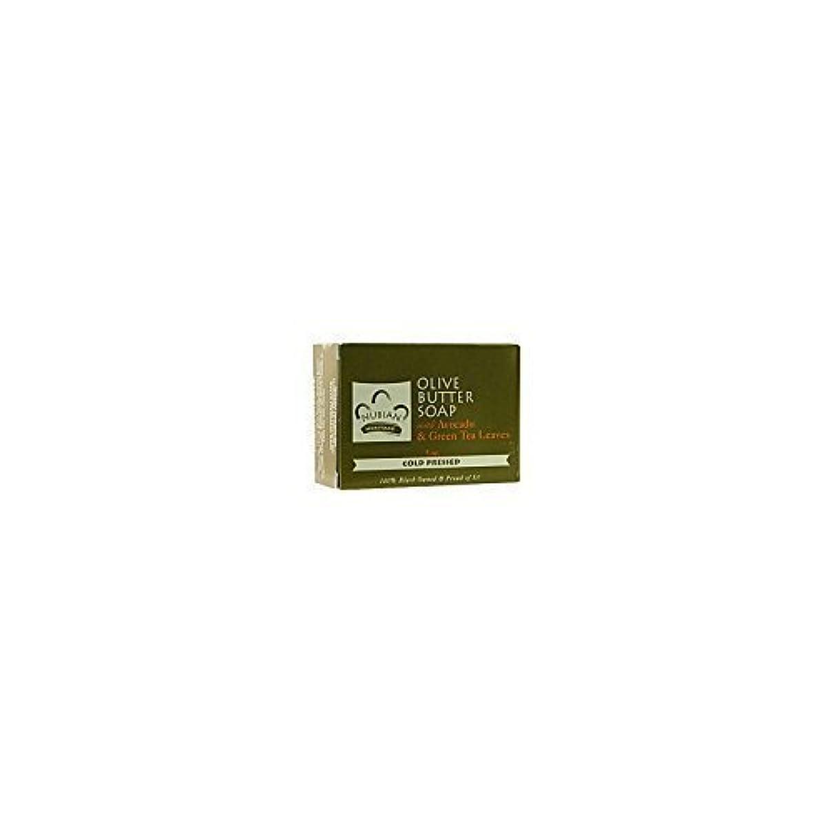 とげ迷信サルベージ海外直送品Nubian Heritage Bar Soap, Olive and Green Tea 5 OZ (Pack of 6)