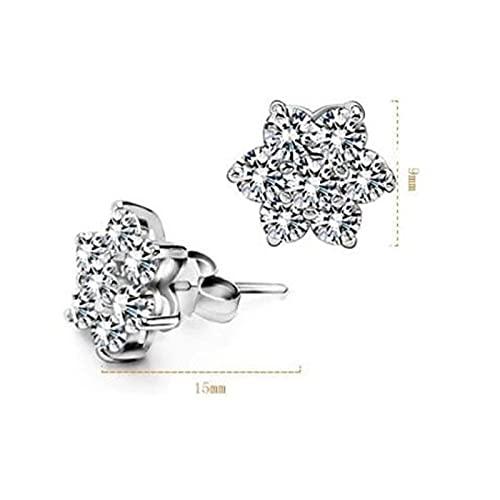 DFDLNL Conjuntos de Pendientes para Mujer Aros Pendientes de botón de Flores de Copo de Nieve para Mujer Brincos Gift Boucle D'oreille