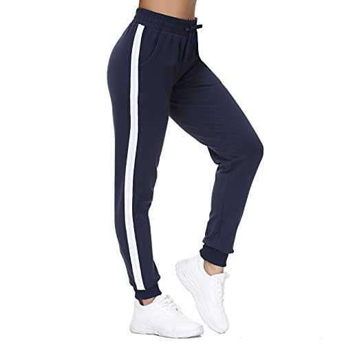 HMIYA Damen Sweathose Baumwolle Jogginghose Bündchen Sporthose Freizeit Hose mit Streifen(Marine Streifen,XS)