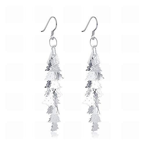 TIANYOU Pequeños y exquisitos ganchos para las orejas de las señoras del árbol de Navidad de la moda japonesa y coreana/Acero inoxidable/Hipoalergénico/Brillo de plata/Zirco