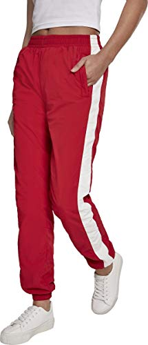 Urban Classics Ladies Striped Crinkle Pants Pantalon, Rouge (Red/WHT 00202), 38 (Taille Fabricant: Small) Femme