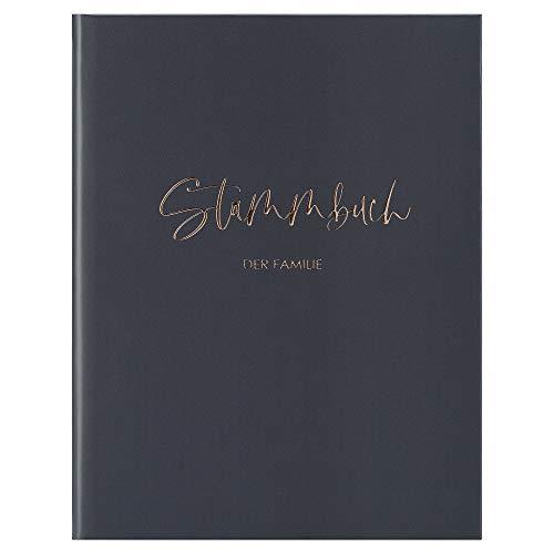 DeinWeddingshop Stammbuch der Familie - Familienstammbuch Hochzeit Standesamt - Deluxe Serie - Hardcover 16x21cm (Dunkelgrau/Roségold)