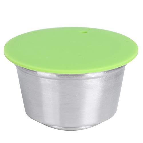 Oumefar Cápsulas de café Cápsulas de café Reutilizables de Acero Inoxidable con Tapa de Silicona Taza de cápsula de café Recargable Apta para cafetera Dolce Gusto(Green)