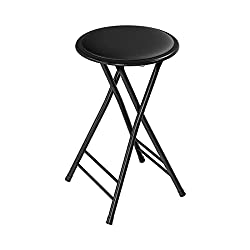 small Brand Home Folding Heavy Duty 24-inch Folding Padded Round Chair, Load Capacity 300 lbs …