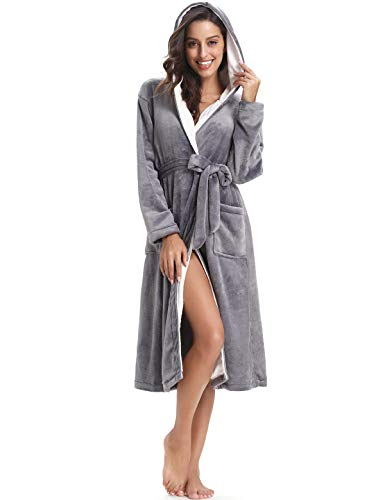 Abollria Damen Bademantel Flauschig Morgenmantel Frottee Winter Flanell Robe Langarm Saunamantel Fleece Kimono mit Kapuze und Gürtel
