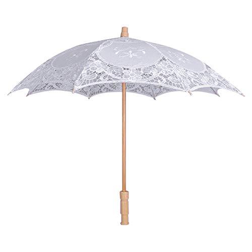 Ombrelli pieghevoli Ombrello Stick Ombrelli da Golf Ombrellone grande bianco avorio manico in legno ricamo pizzo da sposa ombrello decorazione di cerimonia nuziale forniture ombrellone ombrello bianc