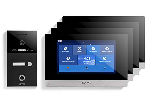 GVS IP Video Türsprechanlage mit 10 Zoll Monitor - Ideales Set für Einfamilienhaus & Wohnung - IP65 Klingel-Türstation mit 120° HD-Kamera, App-Steuerung, RFID & Fingerprint - Modell AVS5258A