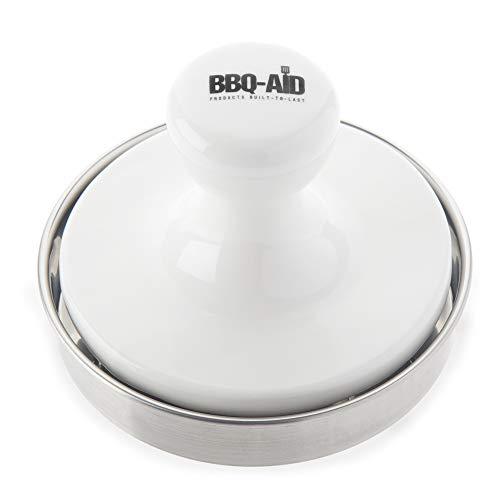 BBQ-Aid Burger Press - Evenly Cooked, Tasty Burgers - Made with a Porcelain Press and Stainless Steel Bottom - This Hamburger Patty Maker for Grilling is a Notch Above