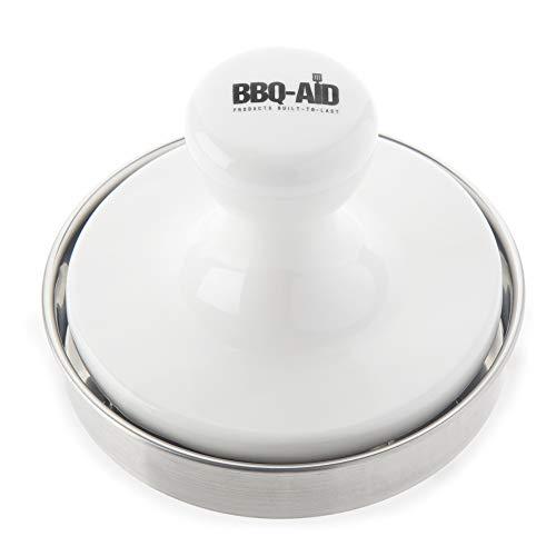 Presse à hamburger BBQ-Aid – Cuit uniformément et savoureux – Fabriqué avec une presse en porcelaine et un fond en acier inoxydable – Cette machine à galettes pour hamburger est une encoche ci-dessus