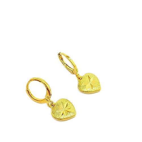 Pendientes colgantes con forma de corazón tallados en forma de estrella, chapados en oro amarillo de 18 quilates para mujer