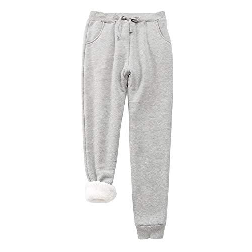 Pantalones de chándal con forro polar para mujer, sólidos, suaves, cálidos, atléticos, con cordón y bolsillos