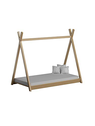 Children's Beds Home Cama Individual con Dosel de Madera Maciza - Estilo Titus Tepee para niños Niños Niño pequeño - Sin colchón Incluido (160x80, Natural)