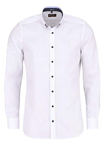 Marvelis Chemise à manches longues, coupe ajustée, blanche, repassage facile, col boutonné, 100 % coton, col épongé - Blanc - 44