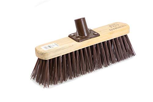 Newman and Cole 30,5 cm langer Holzbesenkopf mit synthetischen harten PVC-Borsten – Ersatz-Besen für den Außenbereich, Gartenboden, Hof-Bürste – Holzbesen Kehrkopf mit Befestigungsklammer